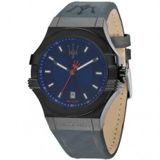Maserati Watch POTENZA 45mm 3H Blue Dial Blue Strap_R8851108021