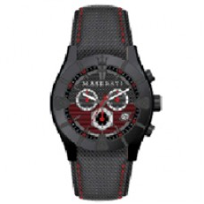 Maserati Watch MECCANICA CHR BLACK/RED DIAL BLACK STRAP_R8871611002